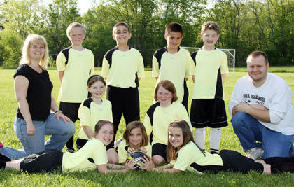 Standing (left to right): Cody Dempsey, Mason Marlette, Cody Brummley, Jonah O'Banion; Kneeling (left to right): Coach Christy Hensley, Katie Hensley, Courtney Dempsey, Coach JR Herdman; Front row (left to right): Hannah Reynolds, Isabella Herdman, Emma Herdman