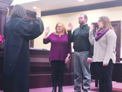 Newly-elected Owenton City Council members Jill Dunavent, Clark Roberts and Kaylan Vannarsdall