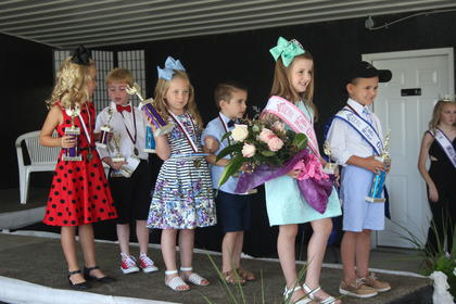 The winners of the 2017 Little Miss and Mister Owen County Fair were (from left to right): second runner up and people's choice, Hallie Tirey and Crosby Ellis; first runner up, Molly David and Eleazar Brooks and Little Miss and Mister winner Annastyn Cammack and Hayes Smith.