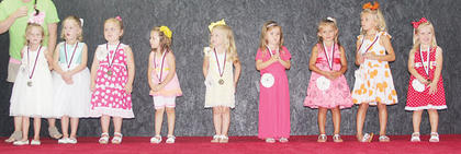 The contestants of the 2014 Owen County 4-H Fair & Horse Show Little Princess pageant included: Madelyn Hopperton, Lyla Hopperton, Isabella Wilson, Emily Stivers, Lexi Chappell, Aurora Wilhoite, Hannah Mason, Chloe Dempsey and Hallie Tirey.