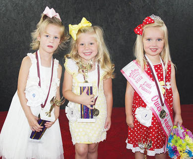 The winners of the 2014 Owen County Fair Little Princess pageant were second runner-up Madelyn Hopperton, first runner-up Lexi Chappell and the 2014 Little Princess, Hallie Tirey.