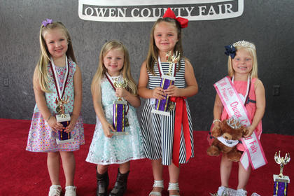 Winners of the 2016 Little Princess Owen County Fair, left to right: third runner-up Karmyn Gaines; first runner-up Sophia Perry; second runner-up Harper Porter and Little Princess Mallory Tate.