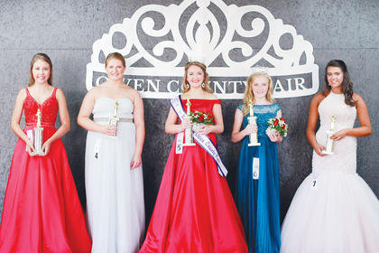 Winners of the 2016 Miss Teen Owen County Fair, left to right, first runner-up, Bailey Claywell; People's Choice Mercedes Bourne; Miss Teen Owen County Fair Abbey Wilhoite; Miss Teen Owen County Fair, local contestant, Maddie Walker and second runner-up, Addison Montague.