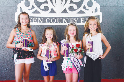Winners of the 2016 Miss Pre-Teen Owen County Fair, left to right: People's Choice Mariah Hawkins; first runner-up Gabrielle Perry; Miss Pre-Teen Maison Hedger and second runner-up, Molly Goodrich.