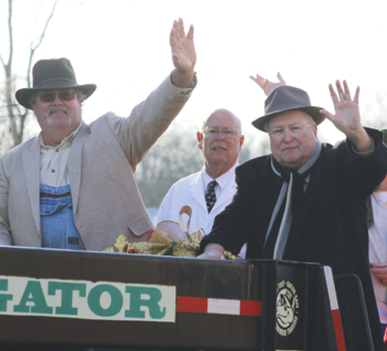"The cast of the Mayberry Christmas play served as the grand marshals in Sunday's annual Owen County Christmas Parade. In the above photo, Dale Turner, Dave Stowe and Bob Cull wave to the crowd of onlookers from the Mayberry cast float. Turner plays Mr. Dillard, while Stowe plays Floyd Lawson and Cull plays Ben Weaver. The play is based on the popular 1960s sitcom, ""The Andy Griffith Show,"" and takes place in the fictitious town of Mayberry, North Carolina."