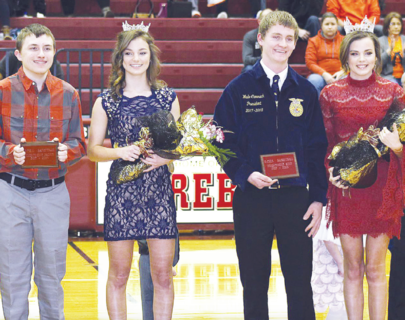 Owen County High School crowned new royalty Saturday between the JV and varsity basketball games. From left to right: Homecoming Prince Noland Hager, Princess Alli Gill, King Wade Cammack and Queen Lindsay Gill.