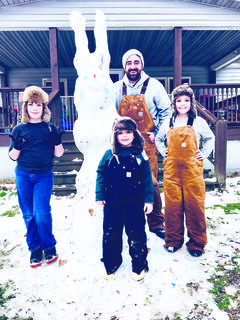 "Winter Storm Gia created Owen County's first snow of 2019 Saturday, Jan. 12. While the snow was quick to melt, Owen countians took advantage of the wintry blast while it lasted. In the above photo, Rylan Casteel, Camren Stafford, Randy Stafford and Cayden Stafford built an 8 ft. tall ""snow bunny man."""