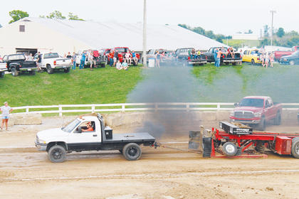 Brady Glacken in a '95 Dodge got a distance of 250.07 feet at the KITPA truck pull Thursday, July 21.